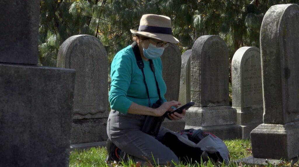 birder using app in park