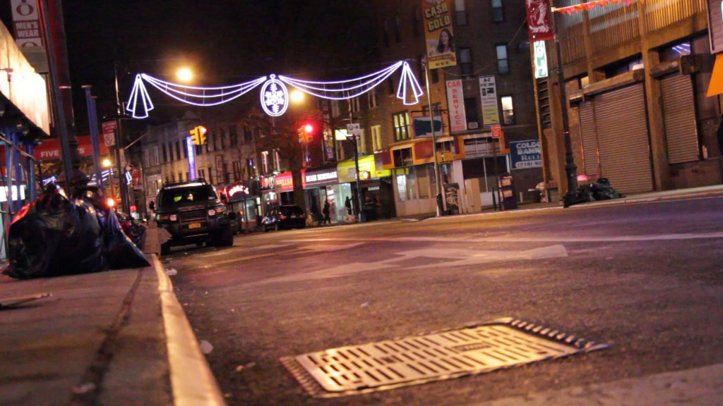Fifth Avenue is shown at night time in Bay Ridge, Brooklyn.