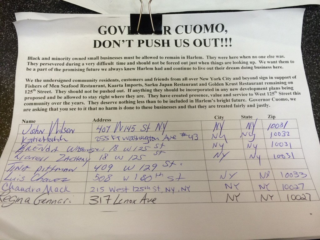 This petition has been put on the order desk of Sarku Japan restaurant three weeks ago.